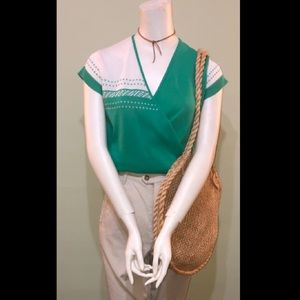 Vintage green and white top